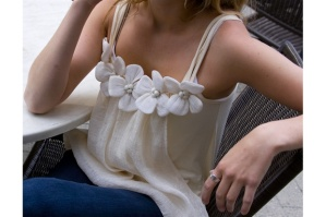 Ivory Cream Large Flower Tank by [Ryu:]
