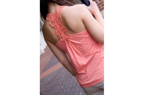 Coral Crochet Tank by Trinity