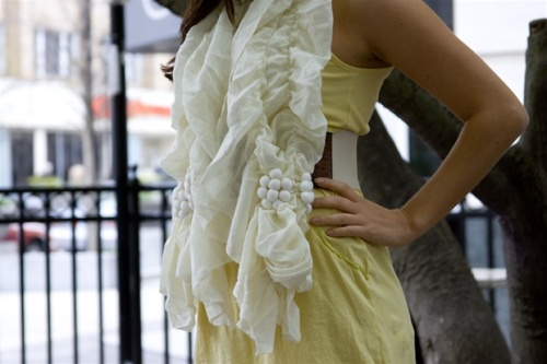 Ivory Cream Accordion Knit Scarf/Shawl by [Ryu:]