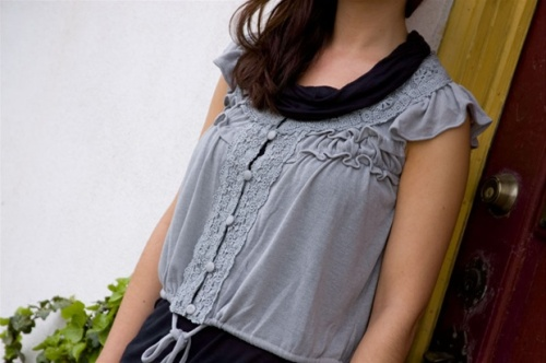 Heather Grey Cropped Sleeveless Cardigan by [Ryu:]